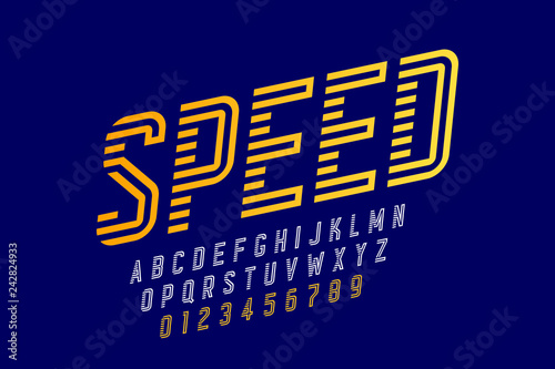 Photo Speed style font, alphabet and numbers