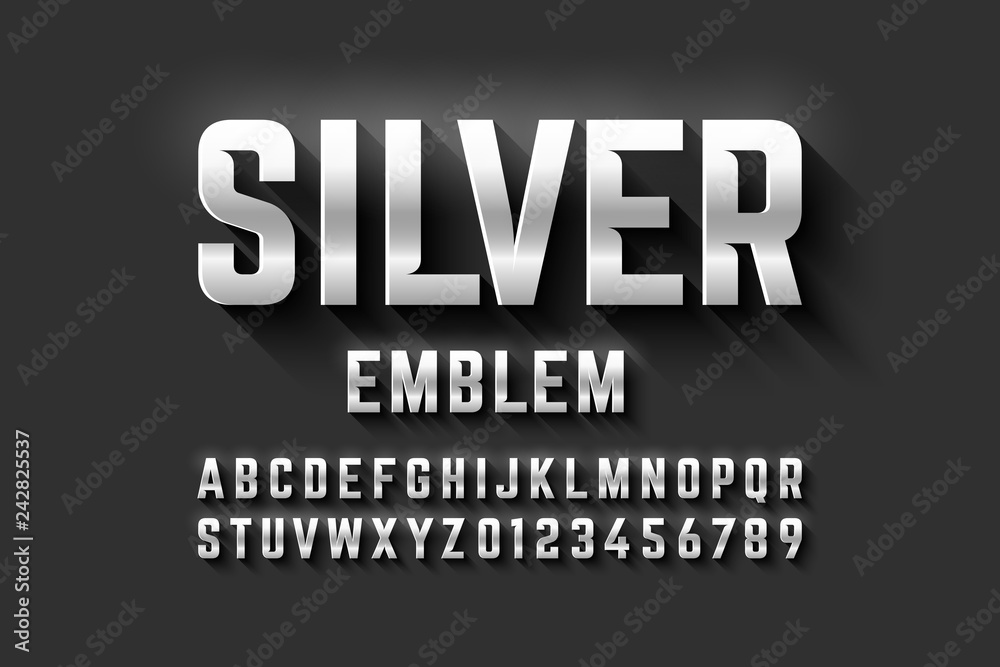 Fototapeta Silver emblem style font, metallic alphabet letters and numbers