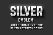 Silver Emblem Style Font, Meta...