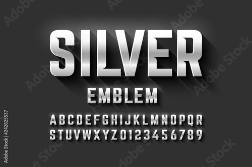 Photographie  Silver emblem style font, metallic alphabet letters and numbers