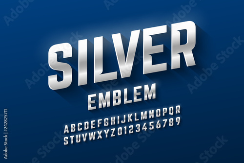 Valokuva  Silver emblem style font, metallic alphabet letters and numbers
