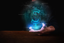 Business Man Hand Show Virtual Hologram Of Dollar Money Symbol Between Hand Dark Blackground