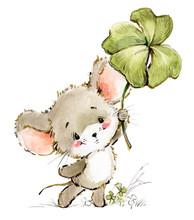 Cartoon Mouse Watercolor Illus...