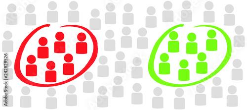 Markierung von zwei Gruppen rot und grün Canvas Print