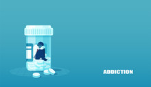 Vector Of A Sick Sad Patient Man In Depression Drowning In Medications Sitting Inside A Bottle.