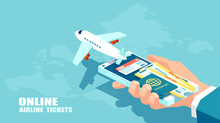 Booking Airline Tickets And Traveler Insurance Online Concept. Vector Of Travel, Business Flights Worldwide