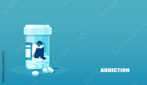 Photo Vector of a sick sad patient man in depression drowning in medications sitting inside a bottle