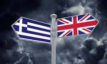 Greece And United Kingdom Guidepost. Moving In Different Directions. 3D Rendering