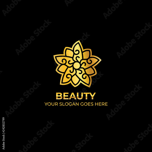 Fotografía  logo template nature gold color symbol luxury elegant beauty fashion boutique fl