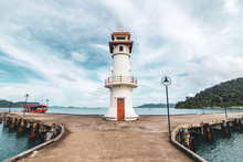 Bang Bao Fishing Village Lighthouse And The Pier On The Koh Chang Island, Thailand