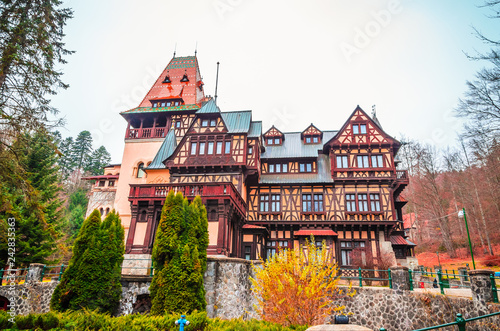 Recess Fitting Eastern Europe Beautiful Pelisor castle in Sinaia, Carpathian Mountains, Romania, Europe. Pelisor castle situated next to the Peles castle.