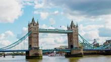 Time Lapse Of Tower Bridge In London Against A Cloudy Sky