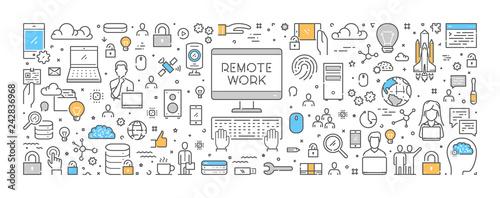 Fotografía Vector line design concept for remote work