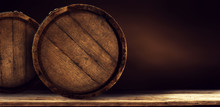 Wooden Retro Old Barrel On Desk And Free Space For Your Decoration