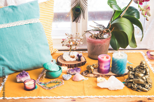 Feng Shui altar at home in living room or bed room Fototapeta