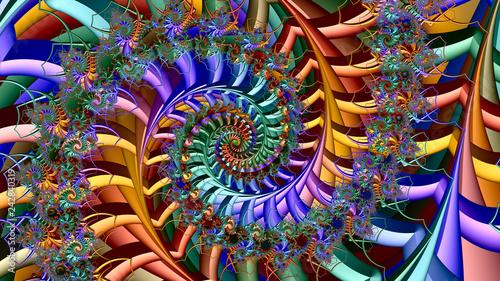 Obraz fractal design, digital art, Oriental pattern, geometric texture, Abstract background  - fototapety do salonu