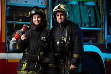 Photo Of Fireman And Woman Near Fire Truck