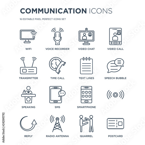 16 linear Communication icons such as Wifi, Voice recorder