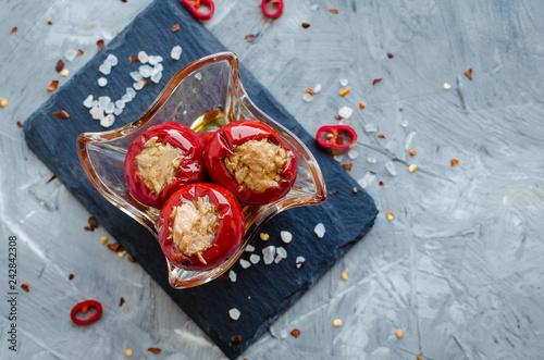 Hot spicy peppers stuffed with tuna