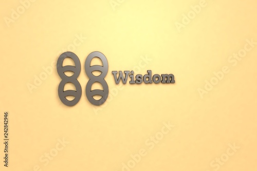 Fotografía  Illustration of Wisdom with brown text on yellow background