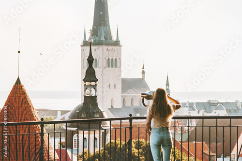 Valokuva Young woman traveling in Tallinn city vacations in Estonia weekend Lifestyle out