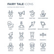 16 linear Fairy Tale icons such as Faun, Fanfare, Devil, Dracula, Dragonfly, Cyclops, Fairy, Elf, enchantment modern with thin stroke, vector illustration, eps10, trendy line icon set.