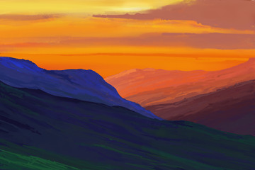 Fototapeta Do salonu Mountains in the background of the sunset. Illustration painting