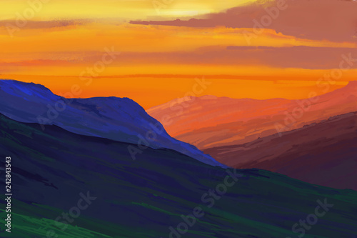 Deurstickers Oranje eclat Mountains in the background of the sunset. Illustration painting