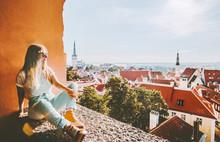 Woman Sightseeing Tallinn City...