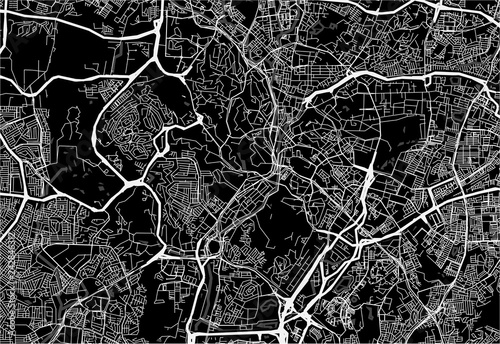 Dark area map of Kuala Lumpur, Malaysia Wallpaper Mural