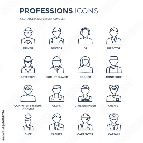 Fotografia 16 linear Professions icons such as Driver, Doctor, Cashier, Chef, Chemist, captain, Detective modern with thin stroke, vector illustration, eps10, trendy line icon set