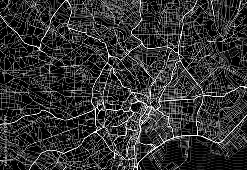Dark area map of Tokyo, Japan Wallpaper Mural