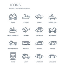 16 Linear  Icons Such As Quad,...