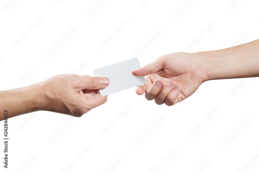 Fototapeta Hand giving a blank card or a ticket/flyer, isolated on white background