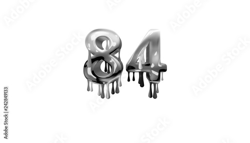 Fotografia  silver dripping number 84 with white background