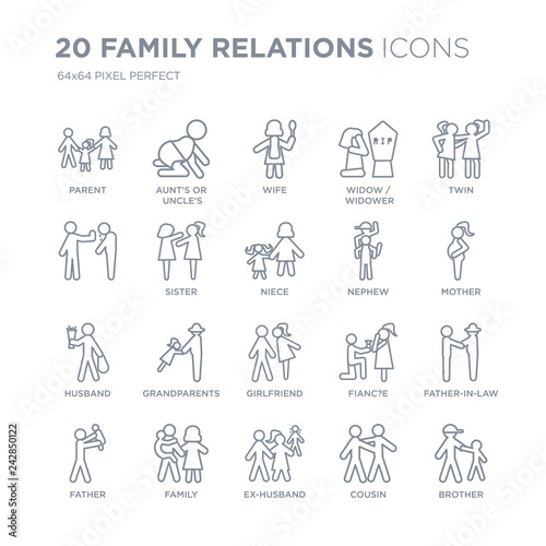 Fototapeta Collection of 20 family relations linear icons such as parent, aunt's or uncle's child, ex-husband, family, father, twin line icons with thin line stroke, vector illustration of trendy icon set. obraz na płótnie
