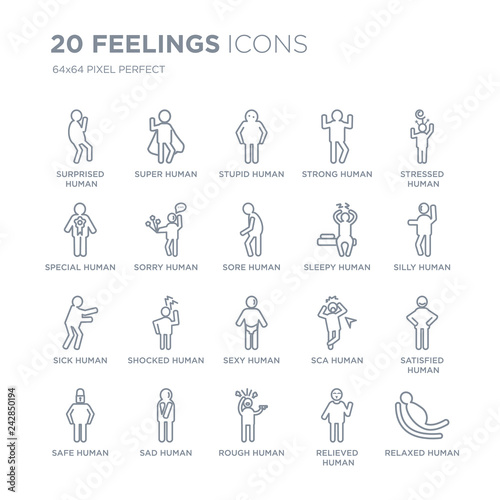 Fotografia  Collection of 20 Feelings linear icons such as surprised human, super rough sad safe human line icons with thin line stroke, vector illustration of trendy icon set