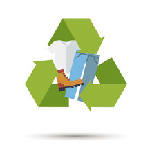 Flat Design Shoes And Clothing Recycling Symbol Vector