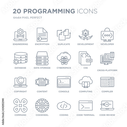 Collection of 20 Programming linear icons such as