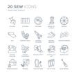 Collection of 20 Sew linear icons such as styling, Stitches, Pattern, Sewing, Sewing basket, Spokes, needles line icons with thin line stroke, vector illustration of trendy icon set.