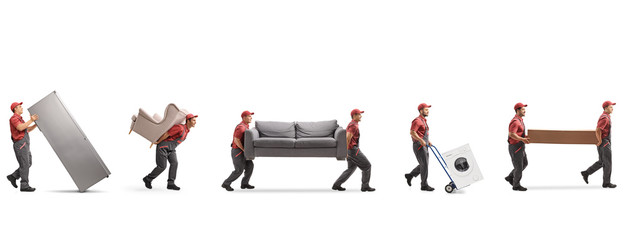 Movers carrying furniture and appliences