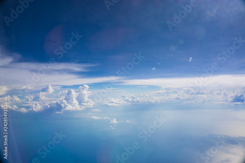 Blue sky with cloud airplane view