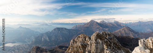 Foto auf Leinwand Blau Jeans Landscape of Lombardy Alps in autumn or winter. The Grigna mountain seen from the summit of Mount Resegone.
