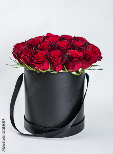 Red Roses bouquet in the black box