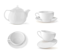 Set Cups And Teapot In White, ...