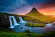 Leinwandbild Motiv The Kirkjufellsfoss waterfall the coast of Snaefellsnes peninsula. Location Iceland.