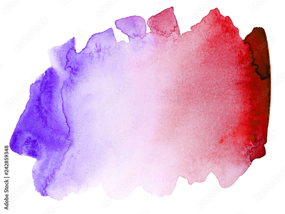 Fototapety, obrazy: blue red watercolor stain