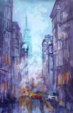 Akwarela i pastelowe malarstwo ulicy w Nowym Jorku, żółta taksówka, nowoczesna grafika, amerykańskie miasto, ilustracja Nowy Jork - 242859372
