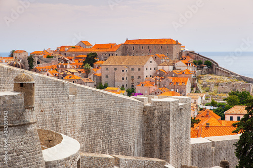 Poster Historisch geb. Fantastic view of the ancient city Dubrovnik on a sunny day.