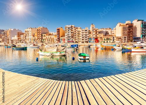 Deurstickers Stad aan het water Location place Malta island, Europe.